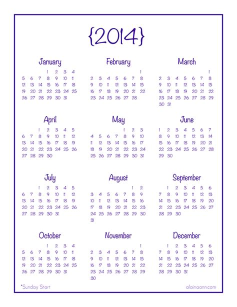 printable calendar at a glance 2014 year at a glance calendar free printable alaina ann