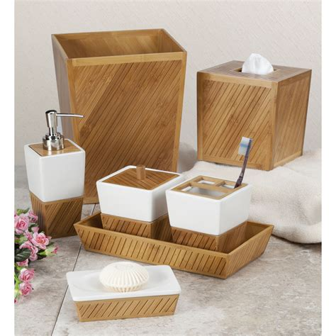 bathroom collections sets spa bamboo bath accessory collection ebay