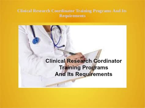 Mba Clinical Research Uk by Clinical Research Coordinator Training Programs An