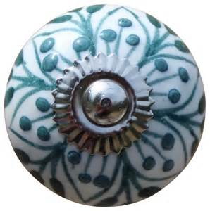 ceramic drawer knobs cabinet knobs white with teal