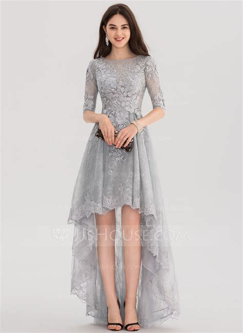 Dress E a line princess scoop neck asymmetrical tulle lace prom