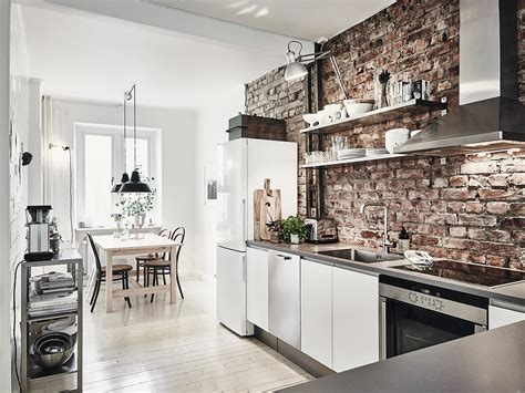 kitchen and dining room together scandinavian interior apartment with mix of gray tones