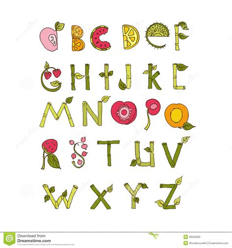 font design nature hand drawn alphabet nature and fruits stock vector