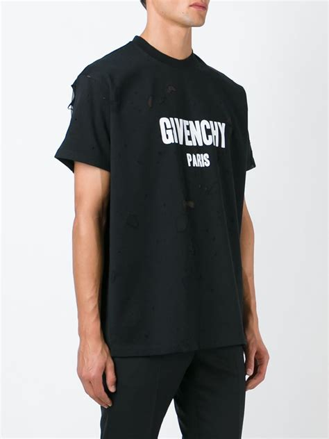 givenchy shirt givenchy distressed effect t shirt in black for lyst