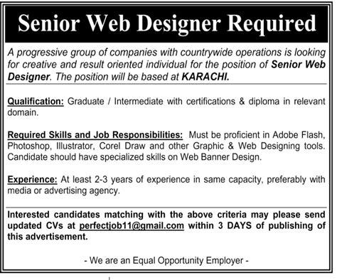 web design home jobs senior web designer jobs in karachi the news on 22 apr