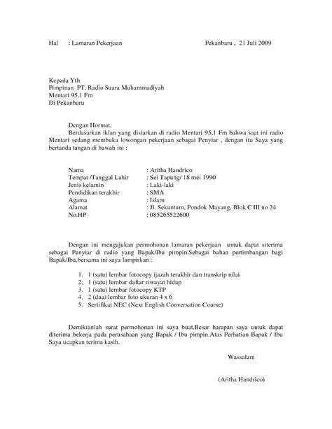Tebaik Contoh Surat Lamaran Kerja Ke Pt 42 Tentang Menulis