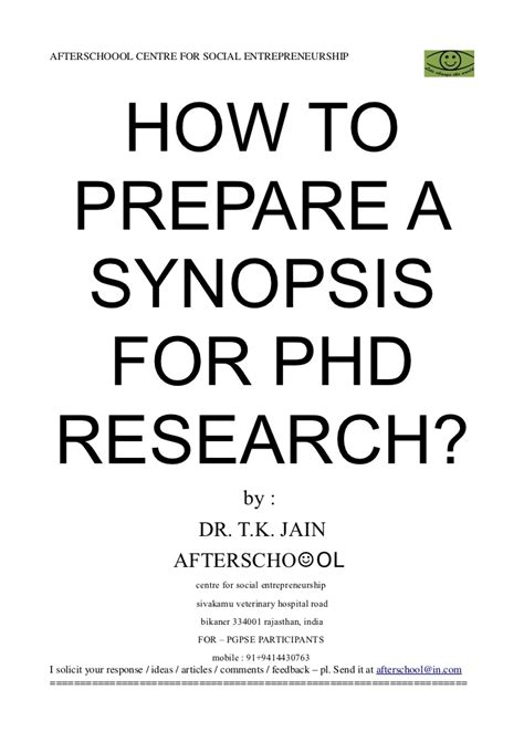 how to a for 29312434 how to prepare a synopsis for phd research