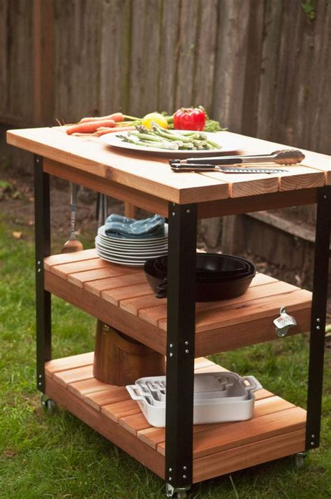 Outdoor Prep Table by Towels Grill Station And Metals On