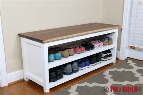 diy shoe rack bench diy entryway shoe storage bench fixthisbuildthat