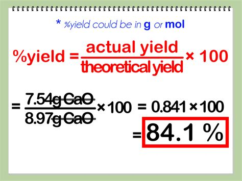 calculator yield how to calculate percent yield in chemistry 13 steps