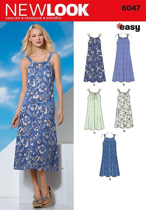 dress pattern ease new look 6047 easy dress adjust to make full length