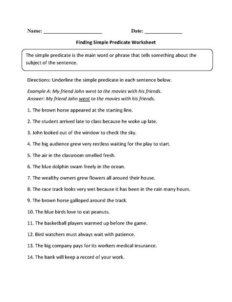 Subject And Predicate Practice Worksheets by Parts Of A Sentence Worksheets Subject And Predicate