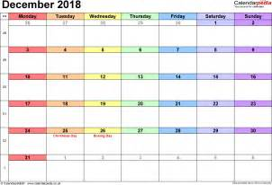 Calendar For 2018 December Calendar December 2018 Uk Bank Holidays Excel Pdf Word