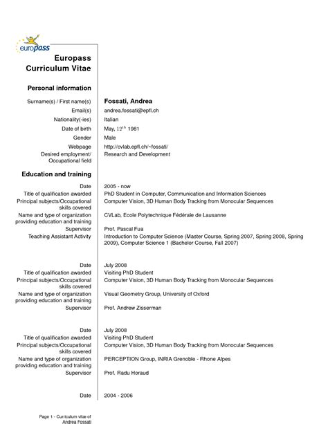 curriculum vitae english version europass professional
