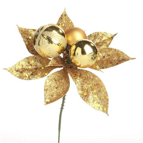 gold sparkling poinsettia pick holiday florals