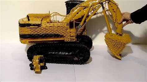 Origami Tractor - working mechanical shovel origami 3d emilio