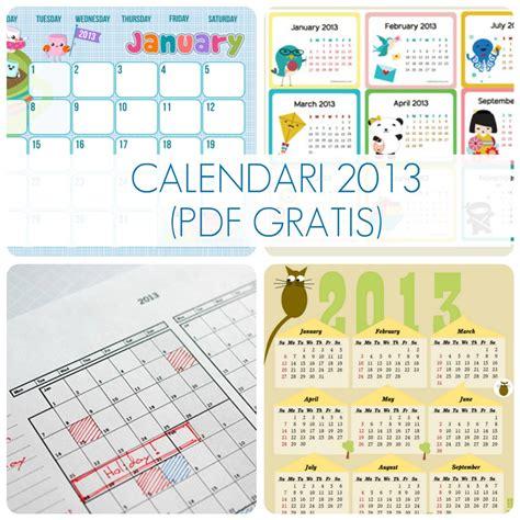 Calendario Gratis Pdf Gratis Calendari 2013 Babygreen