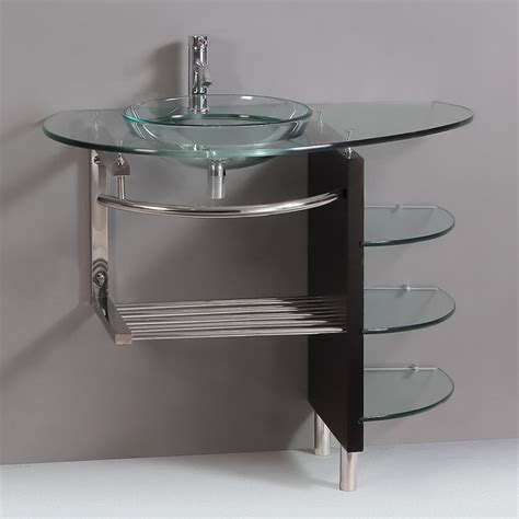 bathroom vessel sink vanity combo kokols wf 25 39 in bathroom tempered glass vessel sink