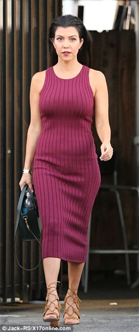 Gmb Dress Berry kourtney shows physique in a curve clinging burgundy pencil dress daily