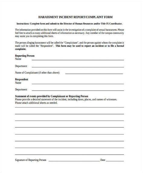 Sle Complaint Form Harassment Report Template