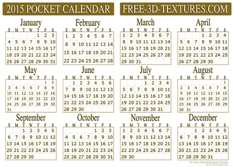 free business card calendar template 2015 7 best images of 2016 pocket calendar free printable