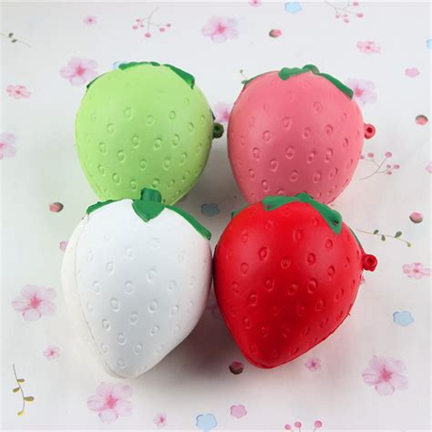 Squishy Strawberry Bulat 6 Cm 8cm squishy strawberry soft kawaii phone keychain bags straps rising sale banggood