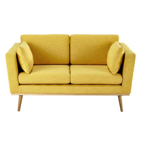 fabric sofa 2 seater fabric sofa in yellow timeo maisons du monde