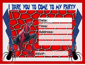 Spiderman Invitation Printable Free