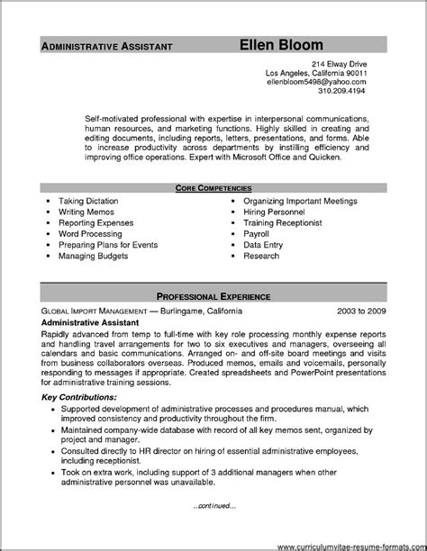 resume format for office assistant sle resume office assistant free sles exles