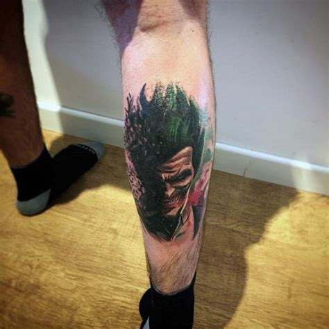 joker tattoo on leg 90 joker tattoos for men iconic villain design ideas
