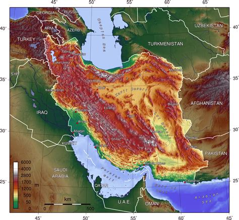 geographical map of iran physical map of iran