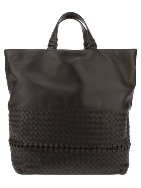 Bottega Veneta Deerskin Woven Tote by Bottega Veneta Woven Leather Shopper Tote In Black For