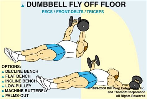 exercise of the day dumbbell flye off floor peace love