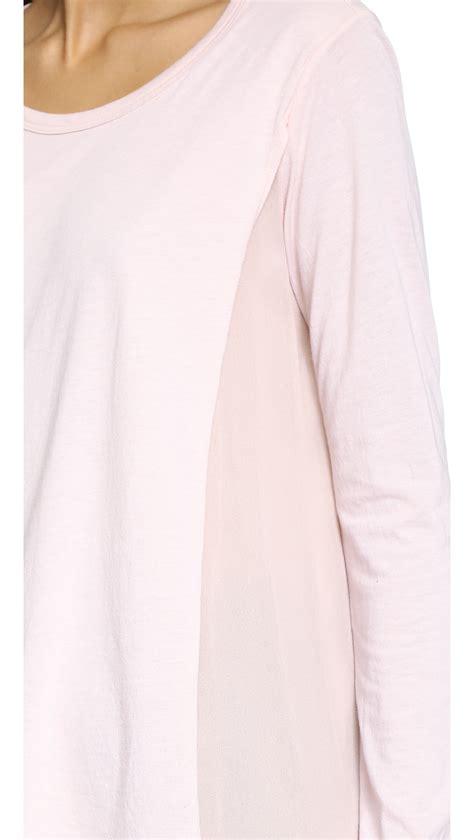 light pink long sleeve top lyst clu silk panel long sleeve top light pink in pink