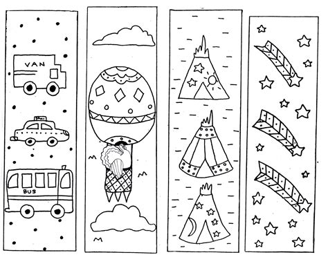 Coloring Page Bookmarks by Printable Bookmarks For Activity Shelter