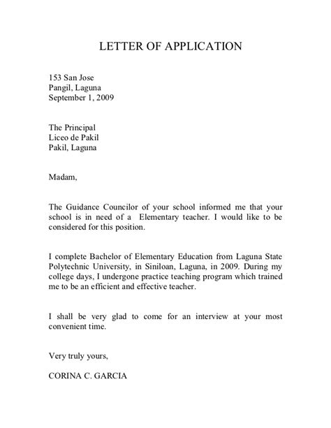 format of application letter of a teacher teachers application letter