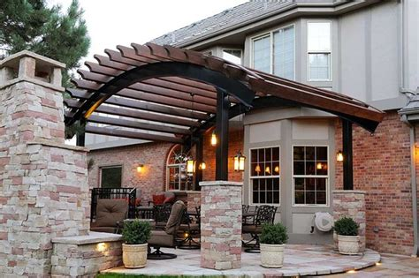 Flagstone Patio With Pergola by Curved Pergola Flagstone Patio Denver Colorado