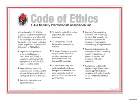Aloa Code Of Ethics Locksmith Tallahassee Contractor Code Of Business Ethics And Conduct Template
