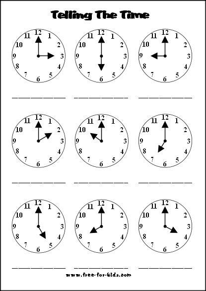 printable clock worksheets to the hour telling time worksheets for kindergarten 1000 images