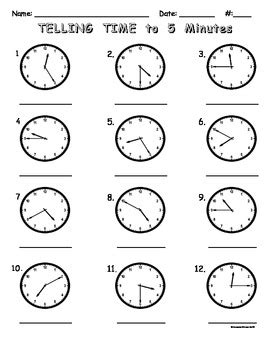 time to 5 minutes worksheet telling time to five minutes worksheet by treats tpt