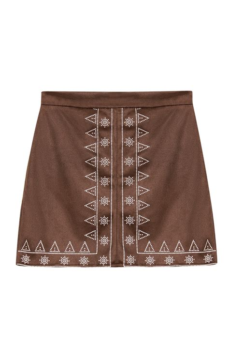 High Waist A Line Mini Skirt high waist print front a line mini skirt with zip back