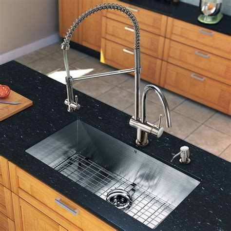 Modern Undermount Kitchen Sinks Vg15244 All In One 30 Inch Undermount Stainless Steel Kitchen Sink And Faucet Modern