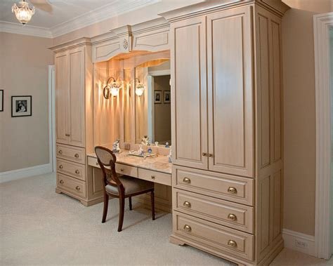 Dressing Up Kitchen Cabinets double armoire makeup station traditional closet