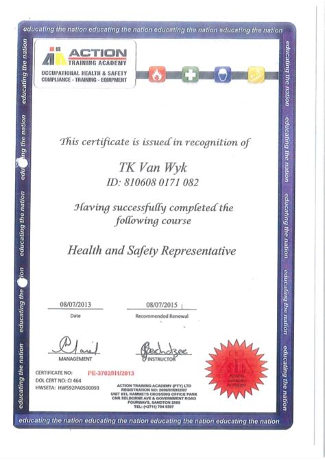 health and safety certificate template certificate health and safety rep academy