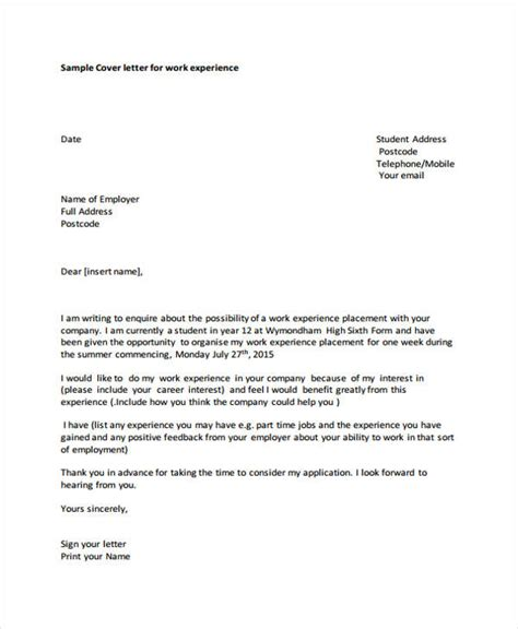work experience covering letter how to write a cover letter for work experience placement