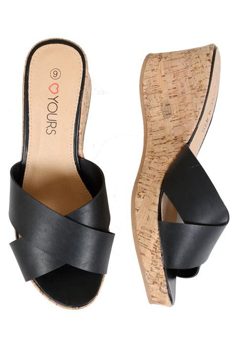 black comfort wedges black comfort insole crossover cork wedge mule in eee fit