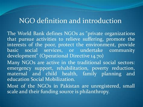 world bank definition of governance of ngo in pakistan