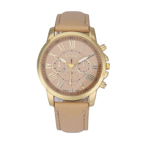 Jam Tangan Geneva Angka jam tangan wanita modis tali kulit beige lazada