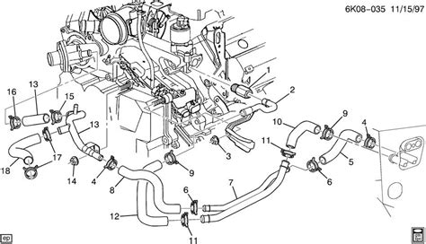 northstar cooling system diagram 2002 cadillac touring hoses pipes heater
