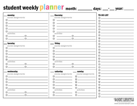 printable weekly student planner pages printable student planner binder the bandit lifestyle